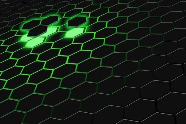 Rendição 3d abstrata da superfície futurista com hexágonos. fundo verde escuro de ficção científica.
