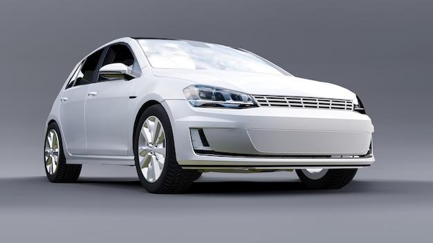 Rendição 3d branca de porta traseira de carro familiar pequeno