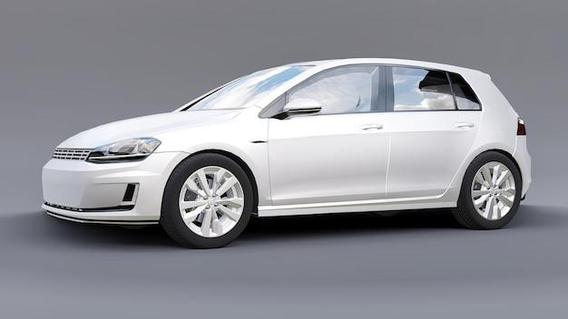 Rendição 3d branca de porta traseira de carro familiar pequeno Foto Premium