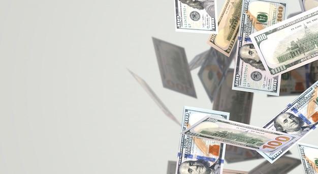 Rendição 3d caindo o índice de negócio de 100 dólares.