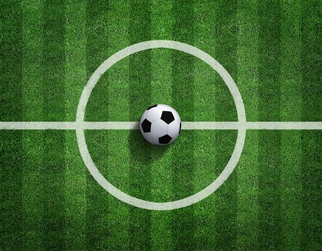 Rendição 3d da bola de futebol com linha no campo de futebol.