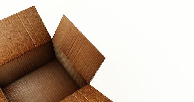 Rendição 3d da caixa de cartão aberta isolada em uma superfície branca.