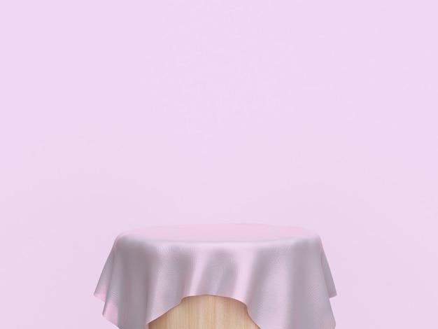 Rendição 3d da cena abstrata do cilindro de madeira cor-de-rosa da tela