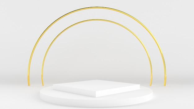 Rendição 3d da cor branca e do ouro com fundo mínimo e abstrato. palco mostrar com forma e geometria.