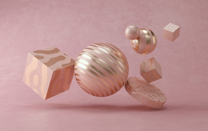 Rendição 3d da esfera mínima pastel abstrata.