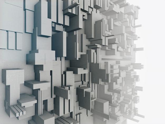 Rendição 3d da estrutura abstrata, fundo futurista.