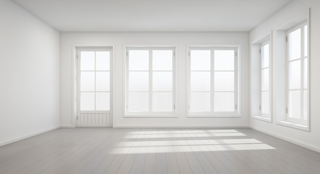 Rendição 3d da sala branca do vintage com porta e janela na casa nova.