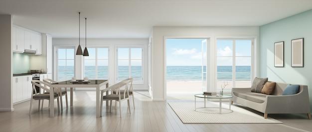 Rendição 3d da sala de visitas, da sala de jantar e da cozinha da opinião do mar na casa de praia.