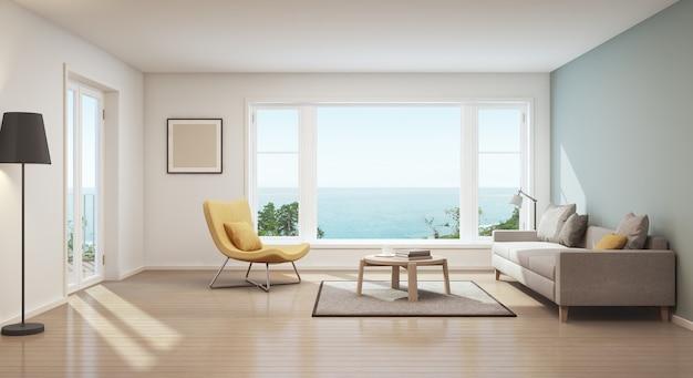 Rendição 3d da sala de visitas escandinava da opinião do mar na casa luxuosa.