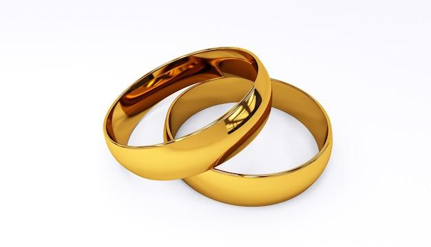 Rendição 3d das alianças de casamento no close up branco do fundo.