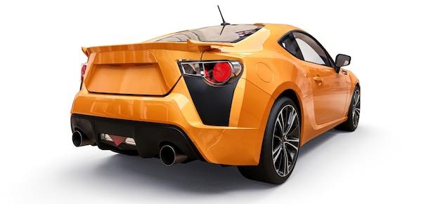 Rendição 3d de cupê de carro esportivo pequeno amarelo