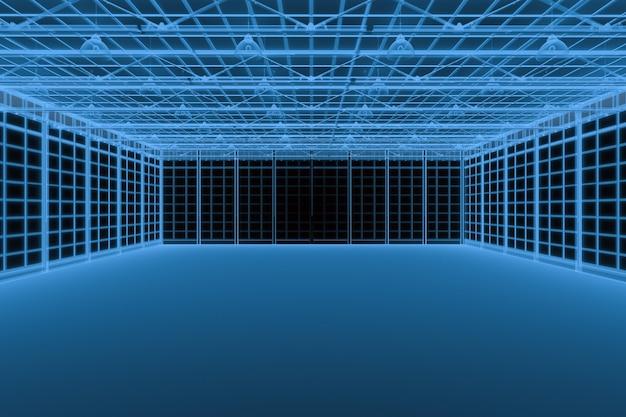 Rendição 3d de raio x fábrica vazia isolada no preto
