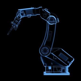 Rendição 3d de raio-x soldando braço robótico isolado em fundo preto