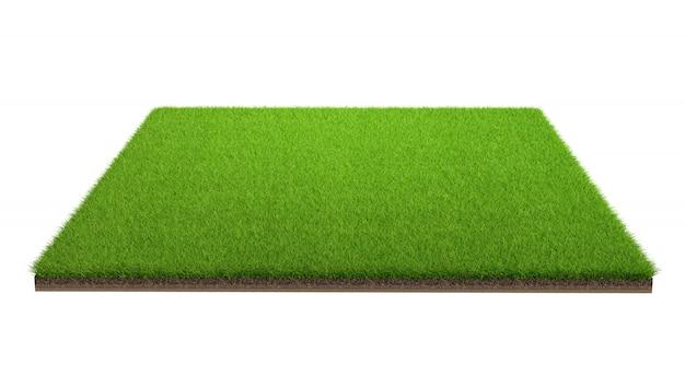 Rendição 3d do campo de grama verde isolado em um fundo branco com trajeto de grampeamento. campo de esportes.