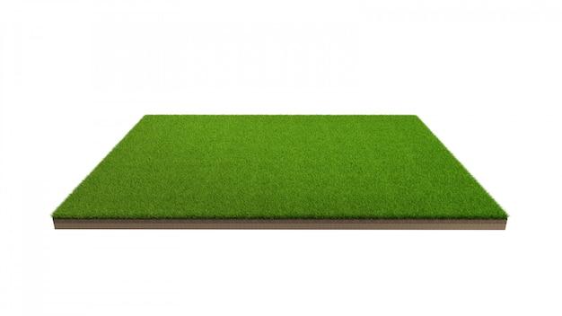 Rendição 3d do campo de grama verde isolado.