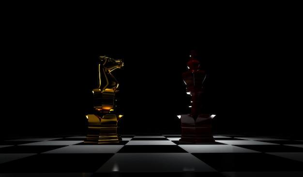Rendição 3d do conceito da liderança da xadrez isolada no fundo preto.