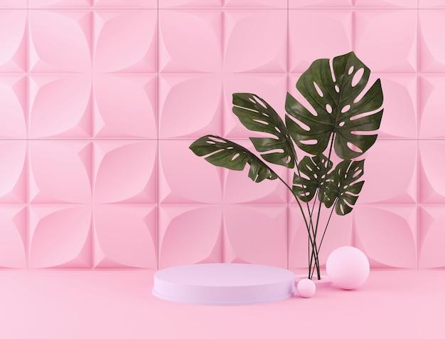 Rendição 3d do contexto da cor pastel com um pódio do projeto para a exposição na cena minimalista do estilo.