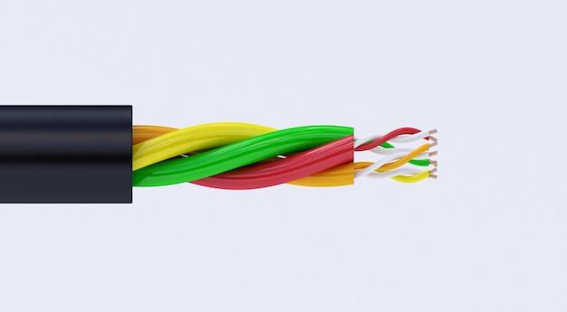 Rendição 3d do fio bonde de cobre. cabo em isolamento multicolorido