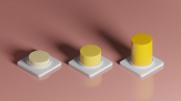 Rendição 3d do gráfico crescente amarelo no pedestal quadrado branco sobre fundo rosa, conceito mínimo abstrato, minimalista de luxo
