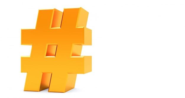 Rendição 3d do ícone de hashtag dourado sobre fundo branco.