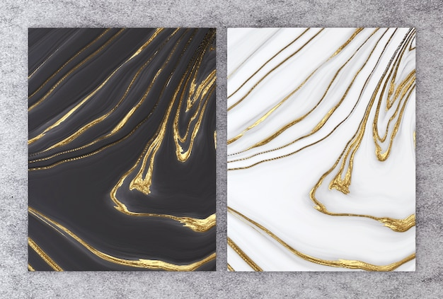 Rendição 3d do mármore preto e branco com folha dourada.