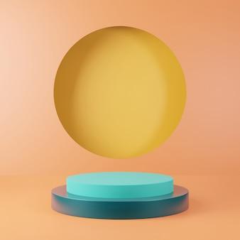 Rendição 3d do pódio colorido do suporte claramente no fundo, espaço vazio mínimo abstrato do pódio para o produto cosmético da beleza,