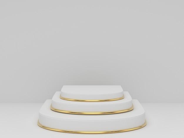 Rendição 3d do pódio do pedestal do ouro branco claramente no fundo, espaço mínimo abstrato do pódio mínimo para o produto cosmético da beleza,