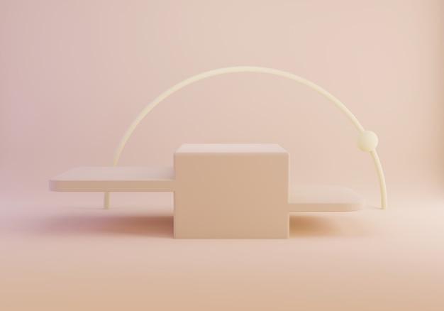 Rendição 3d do pódio vazio da forma geométrica abstrata na cor pastel.