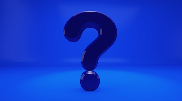 Rendição 3d do ponto de interrogação do azul no fundo azul. exclamação e ponto de interrogação