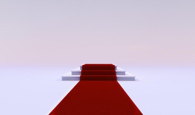 Rendição 3d do tapete vermelho do evento com as escadas na extremidade isoladas em um fundo branco.