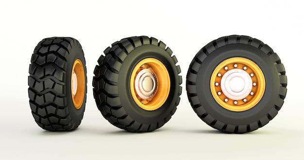 Rendição 3d dos pneus de carro isolados nas rodas de carro brancas ajustadas.