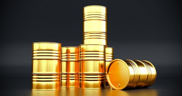 Rendição 3d dos tambores de óleo dourados isolados no fundo preto.
