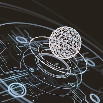 Rendição 3d futurista da tecnologia abstrata da interface de hud.