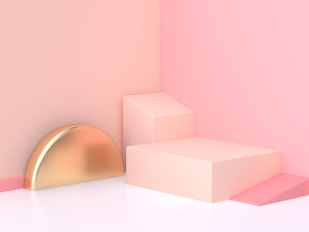 Rendição 3d geométrica da cena abstrata cor-de-rosa da parede de creme