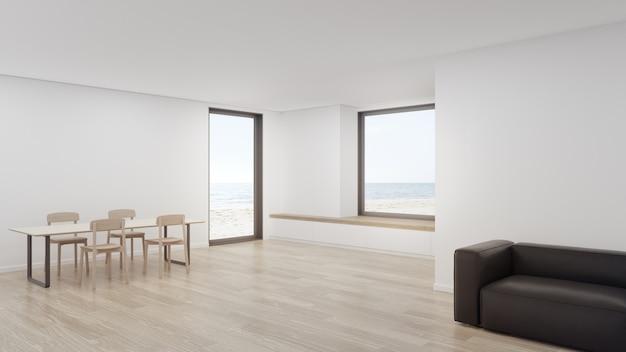 Rendição 3d home interior mínima com vista para o mar.
