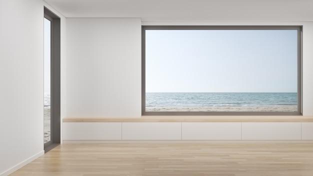 Rendição 3d home mínima do interior com opinião da praia e do mar.