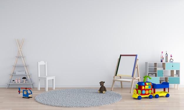 Rendição 3d interior da sala branca da criança