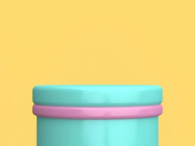 Rendição 3d mínima do pódio cor-de-rosa verde colorido do cilindro do fundo amarelo