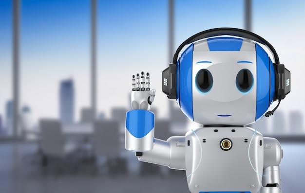 Rendição 3d robô de inteligência artificial fofo com personagem de desenho animado usar fone de ouvido