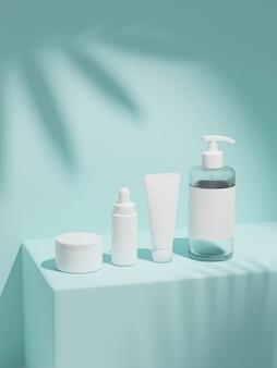 Rendição 3d simulada pacote cosmético para cuidados com a pele, colocar na parede sob o sol.