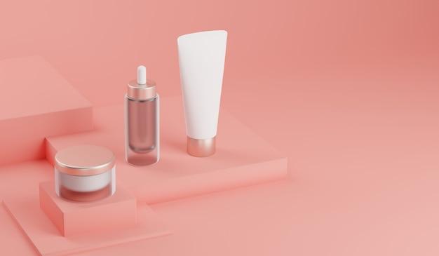 Rendição 3d trocista pacote cosmético para cuidados com a pele.