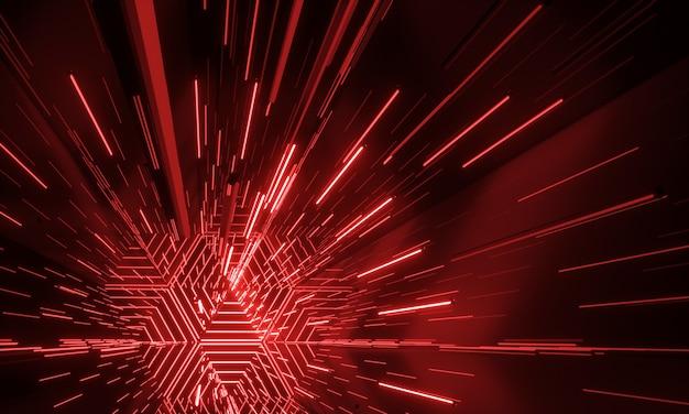 Rendição d de fundo futurista de scifi brilhante de néon