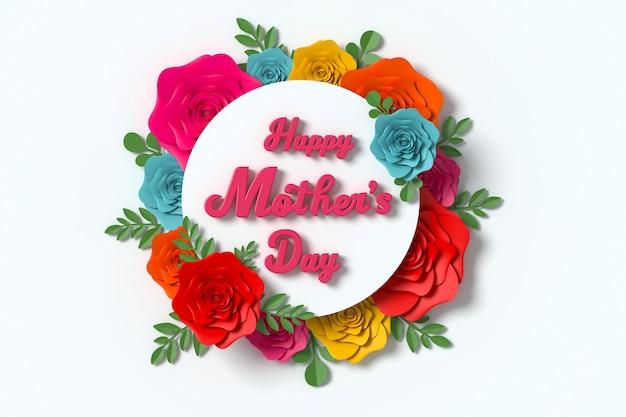 Rendição da flor 3d do cartão do dia de mãe com trajeto de grampeamento.