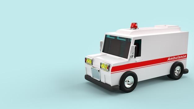 Rendição do carro 3d da ambulância para o conteúdo dos cuidados médicos.