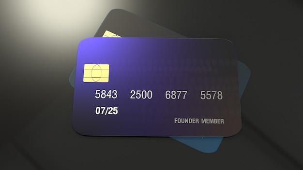Rendição do cartão de crédito 3d para o conceito do negócio.