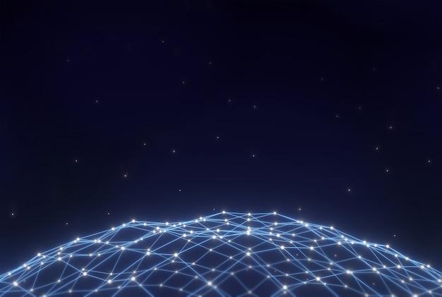 Rendição do fundo 3d da tecnologia de digitas.