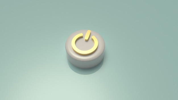 Rendição do símbolo 3d do botão iniciar para o fundo.