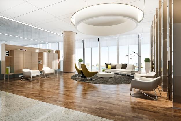 Renering 3d, elegante, lounge, área lobby, e, biblioteca, com, trabalhando mesa
