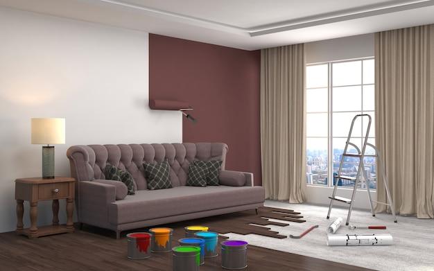 Reparação e pintura de paredes no quarto. ilustração 3d