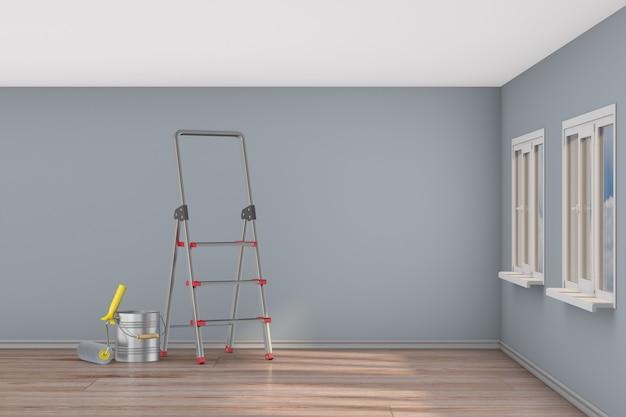 Reparação na sala pintura de parede